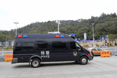 Special police mpv stop by the road Royalty Free Stock Photography