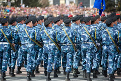 Special police squad. ULAN-UDE, RUSSIA - MAY 9: A special police squad marches at the parade on annual Victory Day, back view, May, 9, 2010 in Ulan-Ude, Buryatia Stock Photos