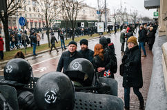 Special police unit with shields against ordinary citizens and protesters in Minsk. Minsk, Belarus - March 25, 2017 - Special police unit with shields against stock photo