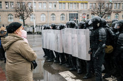 Special police unit with shields against ordinary citizens and protesters in Minsk. Minsk, Belarus - March 25, 2017 - Special police unit with shields against royalty free stock photo