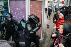 Special police unit with shields against ordinary citizens and protesters in Minsk. Minsk, Belarus - March 25, 2017 - Special police unit with shields against stock image