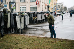 Special police unit with shields against protesters in Minsk Stock Image