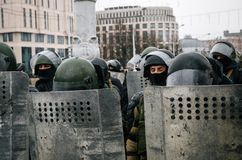 Special police unit with shields against protesters in Minsk. Minsk, Belarus - March 25, 2017 - Special police unit with shields against protesters. Belarusian royalty free stock photo