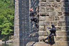 A special police unit trainig on a rope Stock Image