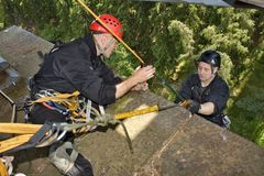 A special police unit trainig on a rope Stock Photography