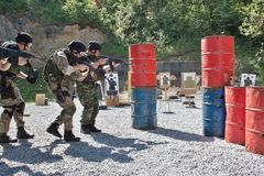 Special police unit in training. School, real situation Royalty Free Stock Photo