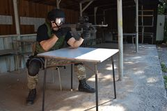 Special police unit in training. School, real situation Royalty Free Stock Image