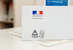 Special postal envelope of  with the logo of The Ministry of the Stock Image