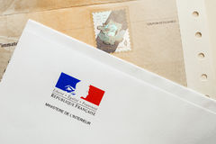 Special postal envelope of  with the logo of The Ministry of the Royalty Free Stock Photo