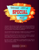 Special Price Autumn Sale - 25 Advert Promo Poster. With label, place for text decorated with maple leaves, web page design informative sticker vector Stock Photography