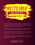 Special Price Autumn Sale - 15 Advert Promo Poster. With label and place for text, web page design informative sticker about fall discounts vector Royalty Free Stock Photos