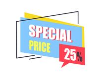 Special Price Promo Sticker 25 Off Advertisement. Logo design with sale proposal vector illustration badge label with text  on white Royalty Free Stock Photos