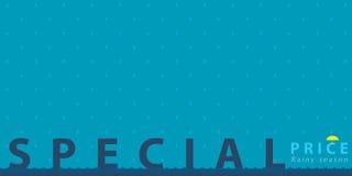 Special price on rainy season poster Stock Photo