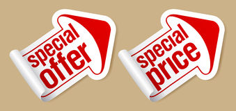 Special price stickers. stock illustration