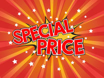 Special price, wording in comic speech bubble on burst backgroun Royalty Free Stock Images