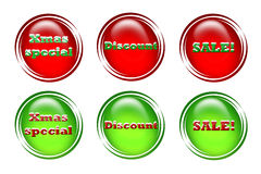 Special prices. Web buttons or icons depicting sales, discounts and special christmas prices Vector Illustration