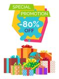 Special Promotion -80 Off Vector Illustration. Special promotion -80 off, banner depicting lots of presents decorated with ribbons and bows with headline on Stock Photography