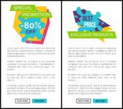 Special Promotion -80 Off, Best Price Web Posters. Special promotion -80 off, best price and exclusive products, graphic sticker on sale theme and discounts Royalty Free Stock Photos