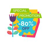 Special Promotion 80 Off Premium Total Sale Label. With cartoon style flower vector illustration blooming bud final deal isolated on white background Vector Illustration