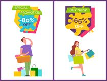 Special Promotion -80 Off Vector Illustration. Special promotion -80 and buy now -65 off, posters depicting man looking somewhere and woman with bags walking Stock Image