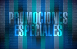 special promotions in Spanish binary sign concept stock illustration