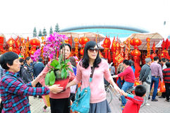 Special purchases for the Spring Festival Market Royalty Free Stock Photo