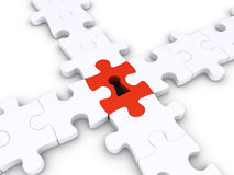 Special puzzle piece joins others Stock Photo