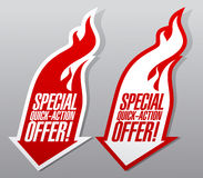 Special quick action offer symbols. Special quick action offer fiery symbols Stock Photography
