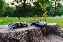 Special radio control and sports a high-speed custom hand-built drone. royalty free stock photo