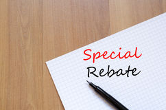 Special rebate write on notebook Stock Photography