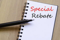 Special rebate write on notebook Royalty Free Stock Photo