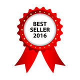 Special red badge. Best seller 2016 promotional label Royalty Free Stock Images