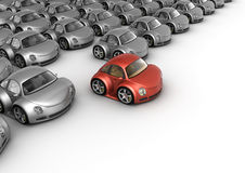 Special red car in front of many grey cars Stock Photography