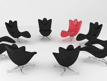 Special red office armchair between ordinary Royalty Free Stock Photo