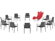 Special red office armchair between ordinary Royalty Free Stock Photography