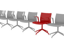 Special red office armchair between ordinary Royalty Free Stock Images
