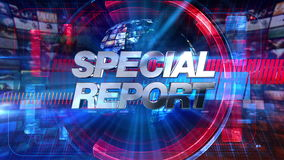 Special Report - Broadcast Graphics Title Animation 4K. Special Report graphic main title, videos and images in the background. See other versions in this series royalty free illustration