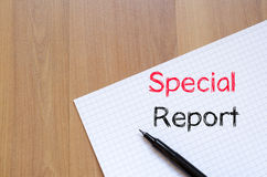 Special report concept on notebook. Special report text concept write on notebook Stock Photos