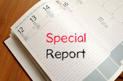 Special report concept on notebook. Special report text concept write on notebook Stock Photography