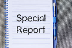 Special report concept on notebook. Special report text concept write on notebook Royalty Free Stock Images
