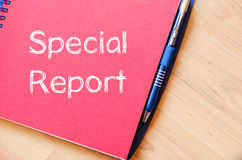 Special report concept on notebook. Special report text concept write on notebook Stock Image