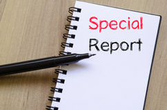 Special report concept on notebook. Special report text concept write on notebook Stock Images