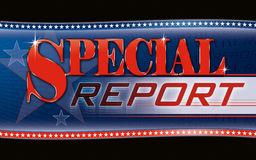 Special Report Graphic. Official looking cable TV news style graphic with a patriotic flair Stock Photos