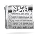 Special report  news paper. Illustration of special report  news paper on isolated background Royalty Free Stock Photography