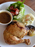 Special roasted chicken meal served with Japanese potato salad, Stock Images