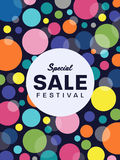 Special sale festival text on white circle and circle colorful bubble banner background vector design Stock Photo