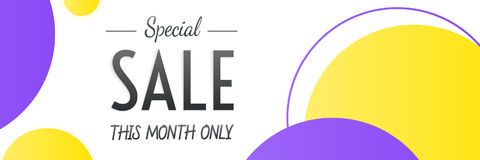 Special Sale heading design for banner or poster. Sale and disco Stock Photography