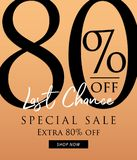 Special Sale 80 percent heading design on orange background for. Banner or poster. Sale and Discounts Concept. Vector illustration vector illustration