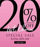 Special Sale 20 percent heading design on pink background for ba. Nner or poster. Sale and Discounts Concept. Vector illustration Stock Images