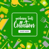 Special sale poster with garden tools on green background. Gardening instruments collection with button shop now stock illustration